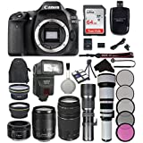 Canon EOS 80D Digital SLR Camera Bundle with EF-S 18-135mm f/3.5-5.6 IS USM Lens + Canon EF 75-300mm f/4-5.6 III Lens + Canon EF 50mm f/1.8 STM Lens + Accessory Kit (22 items)
