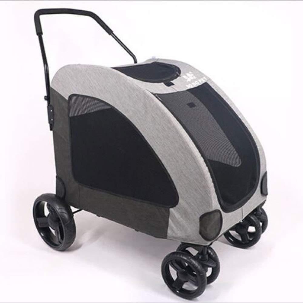 Grey Dog Trailer,4 Wheels Pet Stroller Pet Jogging Stroller Pet Trailer Travel Lite Foldable Carrier Strolling Cart for Large Dogs,Grey