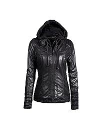 Gorgeous Jackets,KIKOY Womens Slim Removable Hooded Leather Coats Lapel Outwear Khaki