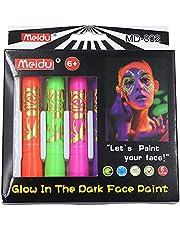 UV Glow Neon Face Paint, 6st Fluorescerande Lysande Ansikte Färg Halloween Ansikte Målning Krita Set För Ansiktet & Kroppen, Lyser Klart Under UV-belysning