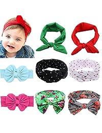 Baby Elastic Hair Hoops Headbands,Girl's Multicolor Hairbands Bunny Ears 8 Pack