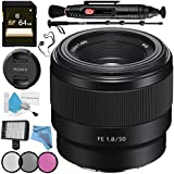 Sony FE 50mm f/1.8 Lens SEL50F18F + 49mm 3 Piece Filter Kit + Professional 160 LED Video Light Studio Series + 64GB SDXC Card + Lens Pen Cleaner + 70in Monopod + Deluxe Cleaning Kit Bundle