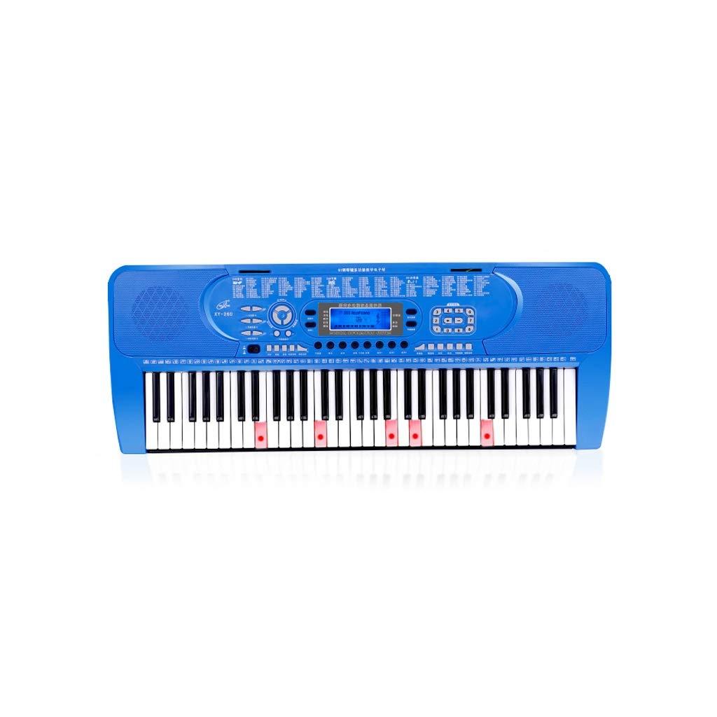 Blau B HXGL-Tastatur Kinder E-Piano Anfänger Erste Schritte Mädchen 61-Tasten-Klavier Erwachsene Professionelle Hausklavier mit Mehreren Funktionen (Farbe   Blau, größe   B)