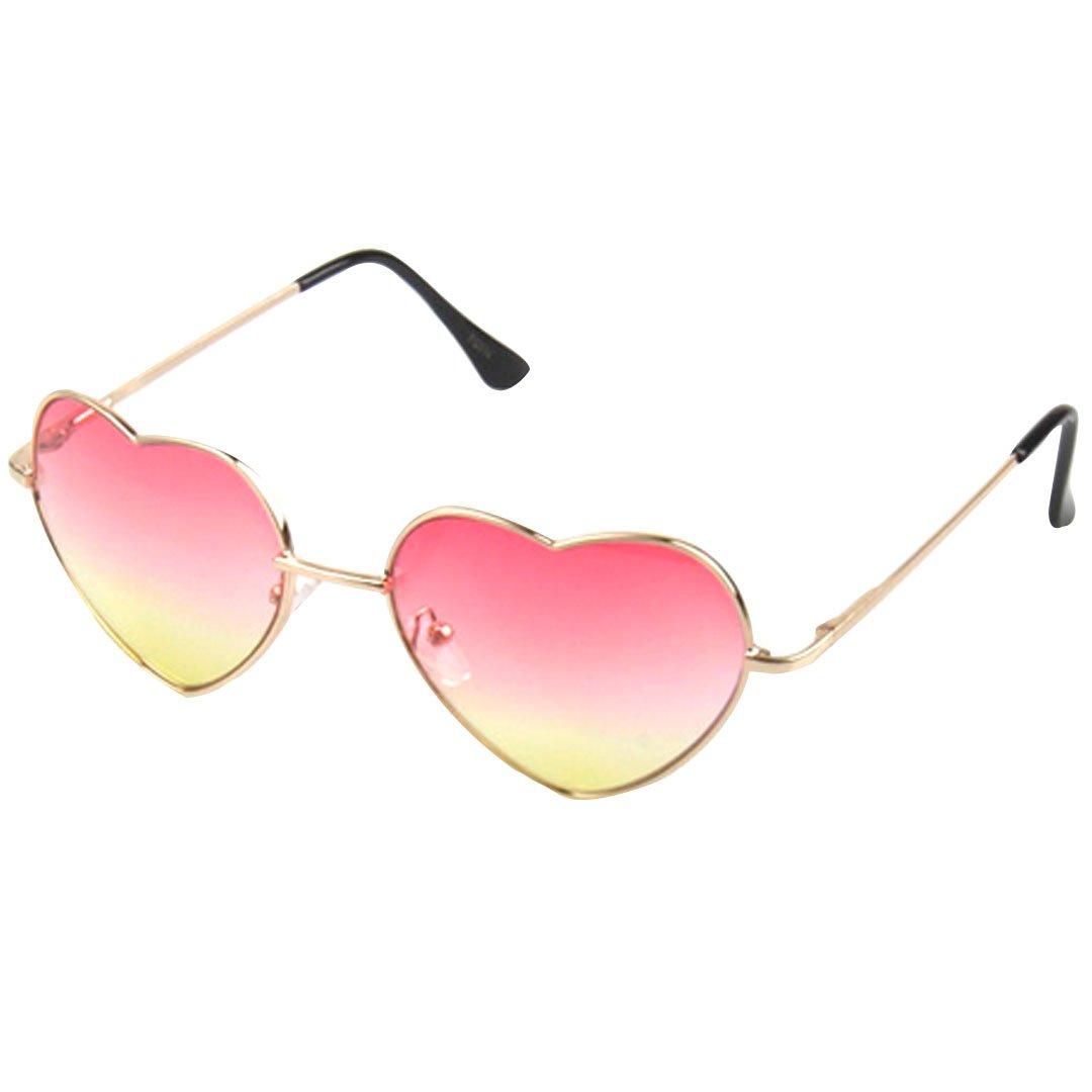 Pink Yellow gold Frame Heart Shaped Cupid Sunglasses for Women Gradient Lens Eyewear Sunglasses