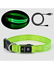 Led Dog Collar - 100% Waterproof Light Up Safety Pet Collar - Rechargeable Flashing Light Collar with Double Fiber