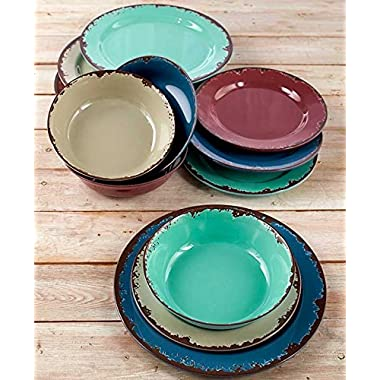 Rustic Melamine Dinnerware Set - Twelve Piece Shatterproof Farmhouse Plates and Bowls