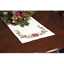 Dimensions Crafts Stamped Cross Stitch Table Runner, Christmas Greens