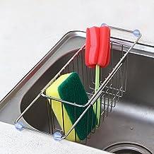 Romani Tech Kitchen Sponge Holder, Adjustable Sink Caddy Brush Soap Dish Scrubber Drainer Rack - Stainless Steel