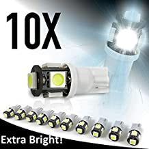 10x LED Replacements for Malibu Landscape Light 5 Led/smd Per Bulb 194 T10 T5 Wedge Base Cool White 12v Dc 1407ww by Sago