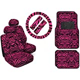 11 Piece Safari Animal Print Automotive Interior Gift Set - 4 Universal Fit Carpet Floor Mats, 2 Low Back Bucket Seat Covers with Separate Head Rests, Universal Fit Steering Wheel Cover and 2 Seat Belt Shoulder Pads - Hot Pink Zebra