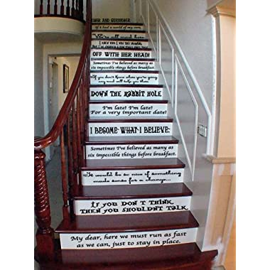 Alice Story Book Quote Set Vinyl Stairs or Wall Decal [Black] Cheshire Cat Qu...