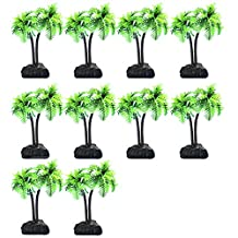 Elisona-10 PCS Mini Plastic Artificial Coconut Trees Water Plants Fish Tank Aquarium Landscape Decoration Ornament