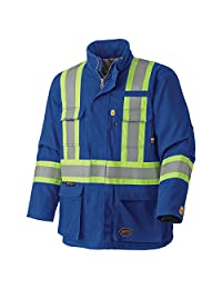 Pioneer V2560210-M Flame Resistant Quilted Cotton Safety Parka, Royal-Medium