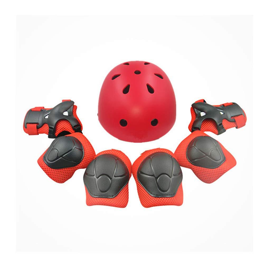 Techecho 子供用 保護ギアセット レッド 膝パッド 手首 肘 ヘルメット 7点セット