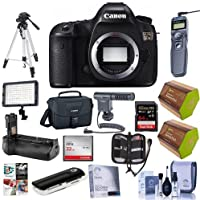 Canon 5DS DSLR Camera Body - Bundle w/Camera Bag,64GB SDXC, 32GB CF Card, Cleaning Kit, Battery Grip, Screen Protector, Remote Shutter Trigger, 2x Spare Battery, Software Package, Tripod, and More