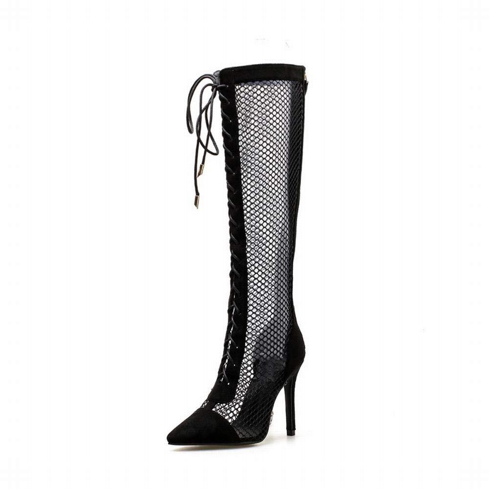 Olprkgdg Damen High Heels Hohle Spitze hohe Stiefel (Farbe   schwarz Größe   39)