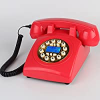 Antique Telephone / Buttons The Wired Phone / Home Desk Deskphone /Caller ID Speaker Phone L23CM W13CM H13CM ( Color : Red )