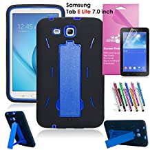 """Samsung Galaxy Tab E Lite 7.0 Case, EpicGadget(TM) Protective Impact Hybrid Case with Build In Kickstand Protection Cover For Galaxy Tab E 7"""" T113, 1 Screen Protector and 1 Pen (Black/Blue)"""