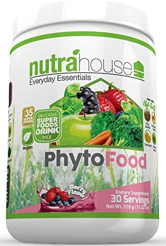 Greens SuperFood Powder Drink Mix with Chia Seeds and over 15 Super Foods. Delicious Berry Flavor and Loaded with Dark Greens, Wild Fruits, Fiber, Digestive Enzymes, Probiotics, Antioxidants, and Vitamins. PhytoFood 30 Servings by NutraHouse