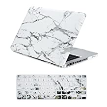 """Unik Case-2 in 1 13 Inch Marble Rubberized Hard Case & Silicone Skin for Old Generation Macbook Pro 13"""" with DVD Drive A1278 Shell Cover-White"""