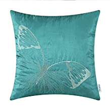 """CaliTime Cushion Covers Pillows Shell Teal Ground Lifelike Butterfly Embroidery 18"""" X 18"""""""