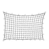 "Orion Motor Tech 4'x6' Stretches to 8'x12' Trailer Truck Bed Cargo Net with 24pcs Aluminium Hooks, 4""x4"" Small Mesh, 1/5"" Dia. Latex Bungee Cords"