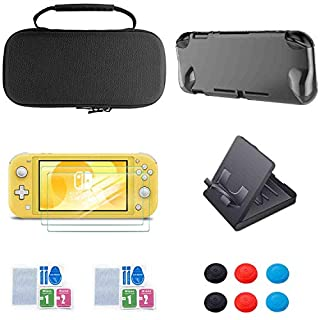 Bundle for Nintendo Switch Lite - Starter Kit Accessories, Portable Travel Carry Case for Nintendo Switch LIte with Protective Cover Case and 2-Pack Tempered Glass Screen Protector and 6 Thumb Caps