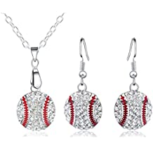 Godyce Baseball Necklace and Earrings Set for Women - Ball Sport Alloy Crystal Jewelry