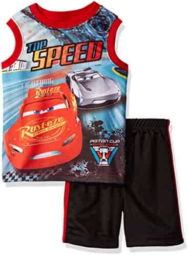 Disney Little Boys' Cars Short Set with Tank Tee