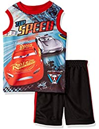 Disney Little Boys' Cars Short Set with Tank Tee