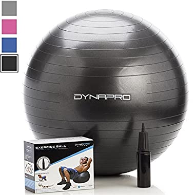 Exercise Ball with Pump, GYM QUALITY (Black, 65 centimeters) Ball by DynaPro Direct. More colors and sizes available aka Yoga Ball, Swiss Ball