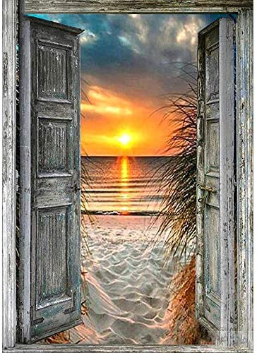 3ABOY Diamond Painting Sunrise Landscape Kit for Adults Full Drill Paint with Diamond Art Sunset Beach Painting via Number Kits Gem Art Wall Home Decor(11.8 x15.7inch)