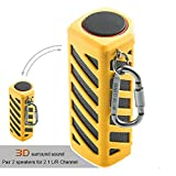 Hapyia Wireless Bluetooth Speaker Portable Waterproof, Pair 2 speakers for 3D Stereo Surround Sound, Built-in 7000mAh Rechargeable Battery [New Release] - One Speaker (Yellow)