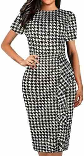 c95bd55c WAWAYA Women Short Sleeve Work Ruffle Bodycon Print Summer Office Pencil  Dress