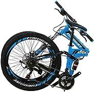 """OBK G4 26"""" Full Suspension Mountain Bike 21 Speed Folding Bicycle Men or Women MTB"""