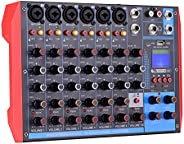 Ktoyols AG-8 Portable 8-Channel Mixing Console Digital Audio Mixer +48V Phantom Power Supports BT/USB/MP3 Conn