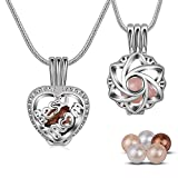 INFUSEU 2 Pack Pearl Cages Pendant Necklace