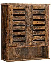 VASAGLE Wall Cabinet, Hanging Bathroom Storage Cabinet, Medicine Cupboard , Rustic Brown BBK121X01