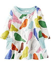 Girls Cotton Casual Longsleeve Cartoon Dresses