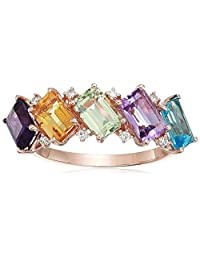 Effy Womens 14K Rose Gold Diamond, Amethyst, Pink Amethyst, Green Amethyst, Blue Topaz, Citrine Ring, Multi, 7