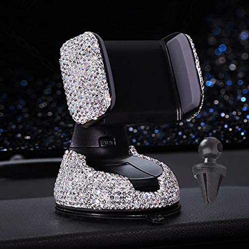 Car Phone Holder Adjustable Universal Bling Strong Sticky Dashboard Air Vent Base Car Air Vent Phone Mount Dashboard Cell Phone Holder Diamond Suction Cup Holder (White)