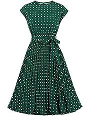 Wellwits Women's Polka Dots Cap Sleeves Pleated Vintage Dress