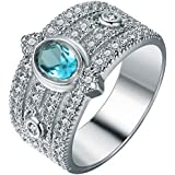 Sumanee Elegant Women 925 Sterling Silver Blue Topaz Sapphire Band Ring Wedding Jewelry (6)