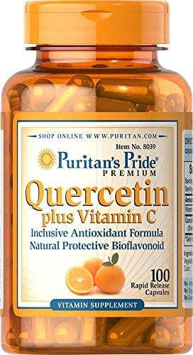Puritan's Pride Quercetin Plus Vitamin C 250 mg/700 mg-100 Capsules