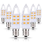 JandCase LED C7 Night Light Bulbs, 2W (15W Incandescent Equivalent), 200LM, Natural Daylight White (4000K), E12 Candelabra Lights for Mason Jar, Window Candle (Pack of 6)