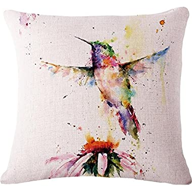 Oil Painting Bird Hummingbird Throw Pillow Case Cushion Cover Decorative Cotton Blend Linen Pillowcase for Sofa 18  X 18   (1)