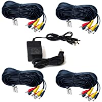 VideoSecu 4 Pack 100ft Feet BNC RCA Cables Audio Video Power Wires CCTV Home Surveillance Cords and 1 of 4 Channel 12V DC 2A Power Supply with Bonus Adapters CR9