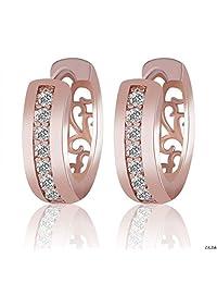 CS-DB 18K Rose Gold Filled Swarovski Crystal Flower Dangle Earrings Women Jewelry