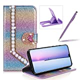 Diamond Wallet Leather Case for Huawei P30 Pro,Flip Cover for Huawei P30 Pro,Herzzer Luxury 3D Beaded Decor Heart Buckle Magnetic Rainbow Purple Glitter Stand Case with Inner Soft Rubber Case