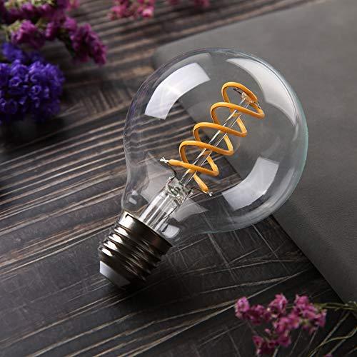 G25(G80) Vintage Globe Edison LED Bulb,Antique Flexible Spiral Filament Light Bulb, Dimmable, E26 Medium Base, Clear Glass (8W-4000K-6 Pack)